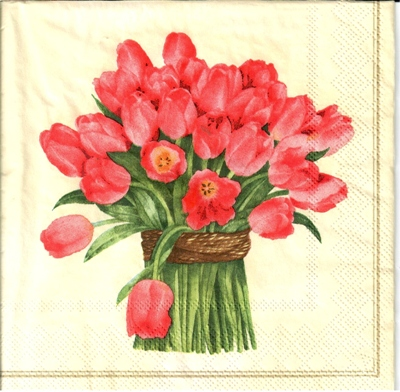 20 serviettes papier Bound of tulips red