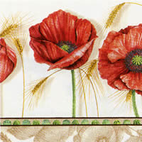 20 serviettes papier corn poppy cream