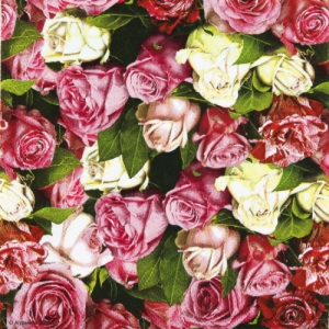20 serviettes papier Roses All Over