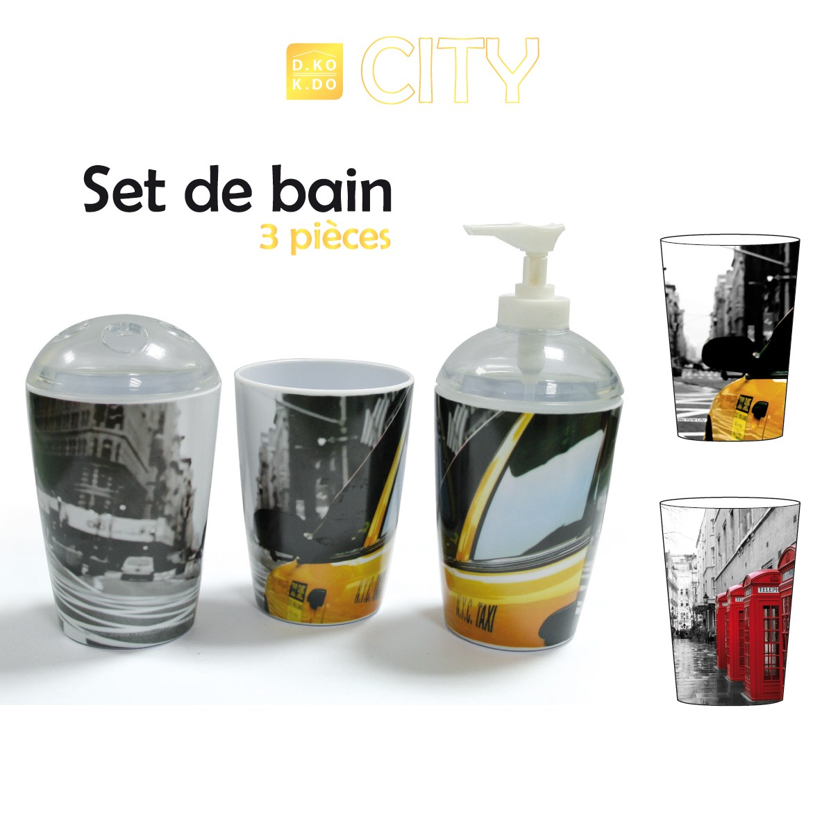 Lot de 3 pots assortis de SDB City